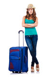 Young girl with suitcase Stock Images