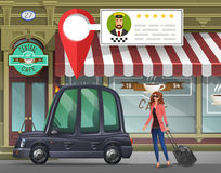 Young girl with suitcase goes in the London taxi for a working trip on the background of cafe with taxi service app. Vector illustration Stock Photos