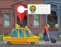 Young girl with suitcase goes in the New York taxi for a working trip on the background of houses with taxi service app. Vector illustration Royalty Free Stock Photography