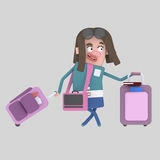 Young girl  with suitcases. Royalty Free Stock Photos
