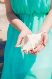Young girl on summer beach with shell Stock Image