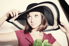 Young girl in summer hat closeup Royalty Free Stock Photography