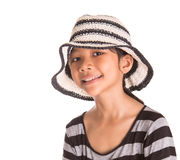 Young Girl With Summer Hat I Stock Photos