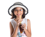 Young Girl With Summer Hat And Ice Drink II Stock Images