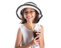 Young Girl With Summer Hat And Ice Drink III Royalty Free Stock Photos