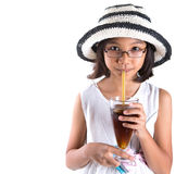 Young Girl With Summer Hat And Ice Drink IV Royalty Free Stock Photo