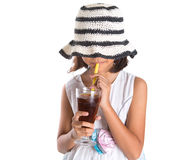 Young Girl With Summer Hat And Ice Drink V Stock Photography