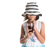 Young Girl With Summer Hat And Ice Drink VI Stock Photography