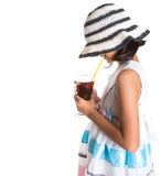 Young Girl With Summer Hat And Ice Drink VII Royalty Free Stock Photo