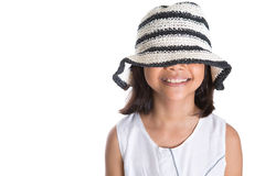 Young Girl With Summer Hat III Royalty Free Stock Photography