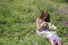 Young girl in sundress sitting on  meadow t Stock Image