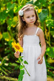 Young girl with sunflower Royalty Free Stock Photography