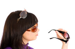 Young girl in sunglasses Royalty Free Stock Images