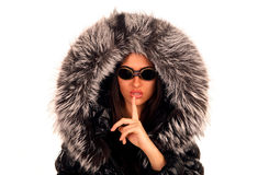 The young girl in sunglasses and a fur hood Stock Photography