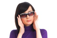 Young girl in sunglasses isolated on the white. Young girl in sunglasses  isolated on the white Royalty Free Stock Image