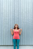 Young girl with sunglasses outdoors. Royalty Free Stock Photo