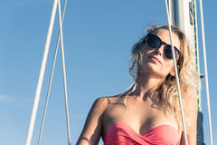 Young girl in sunglasses Stock Images