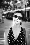 Young girl with sunglasses is smiling Royalty Free Stock Images