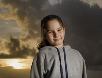 Young girl sunset Stock Photo