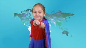 Young girl superhero flies stock video footage