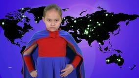 Young girl superhero flies stock footage