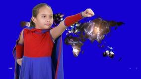 Young girl superhero flies stock video