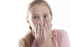 Surprised girl. Young girl with suprised look, hands over mouth, looking to camera Stock Photography
