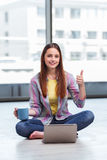 The young girl surfing internet on laptop Royalty Free Stock Photography