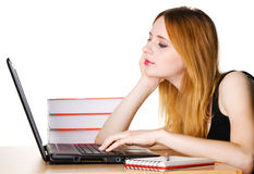 Young Girl Surfing The Internet Stock Images