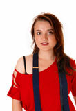 Young girl with suspender. Stock Photography