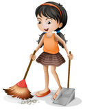 A young girl sweeping royalty free illustration