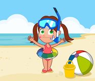 Little girl in swim ring. Young girl in swim ring on beach snorkel set beach ball bucket Royalty Free Stock Images