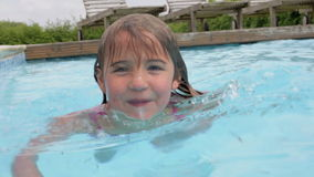 Young Girl Swimming In Outdoor Pool stock footage