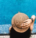 Young girl and swimming pool. swimming pool water Stock Photos