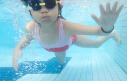 Young girl swimming underwater Stock Images