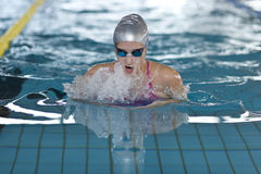 Young girl swims breaststroke in the swimming pool Royalty Free Stock Photos