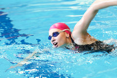 Young girl swims freestyle. In the pool Royalty Free Stock Image