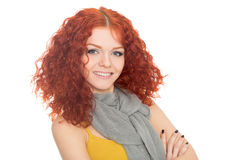 Young girl in a t-shirt with a scarf Stock Image