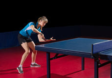 Young girl table tennis player Stock Images