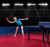 Young girl table tennis player Royalty Free Stock Photography