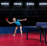 Young girl table tennis player Royalty Free Stock Image