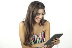 Young girl with a tablet pc. Royalty Free Stock Photo