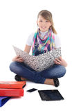 Young girl with tablet pc and phone Stock Images