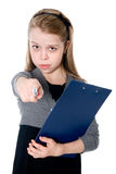 Young girl with a tablet pen points ahead Stock Photography