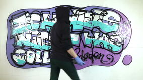 Young girl tagging wall with graffiti stock video