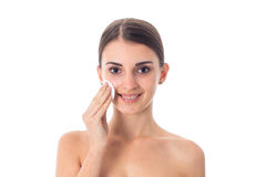 Young girl takes care her skin. Royalty Free Stock Photo