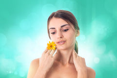 Young girl takes care her skin. Royalty Free Stock Image