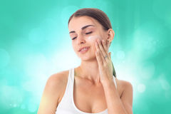 Young girl takes care her skin. Royalty Free Stock Images