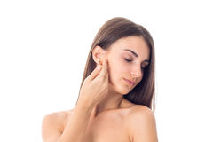 Young girl takes care her skin. Stock Images