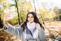 Young girl takes a selfie on the backgroung autumn park. Young girl takes a selfie on the backgroung of a wall with autumn beautiful leaves Royalty Free Stock Images